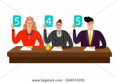 Competition jury. Contest judges with score panels at table, judging people committee with scorecards vector illustration stock photo