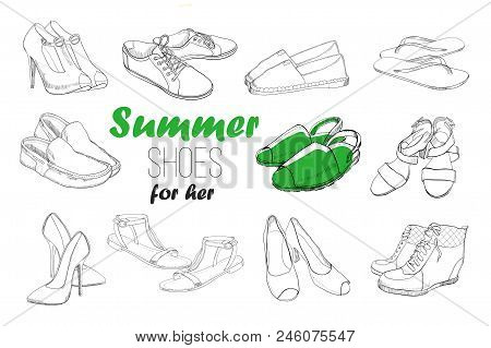 Vector illustration of Set hand drawn graphic men and women Footwear, shoes. Shoe for casual, sport and classical style, gumshoes, boots for all seasons. Doodle, drawing of isolated object. stock photo