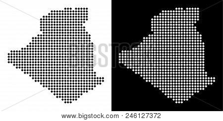 Vector rhombic dot Algeria map. Abstract geographical maps in black and white colors on white and black backgrounds. Algeria map constructed of rhombus element grid. stock photo