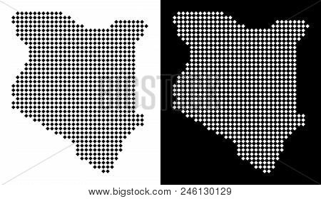 Vector rhombic pixel Kenya map. Abstract geographic maps in black and white colors on white and black backgrounds. Kenya map designed of rhombic dot grid. stock photo