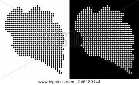 Vector rhombus pixel Koh Phangan Thai Island map. Abstract geographic maps in black and white colors on white and black backgrounds. Koh Phangan Thai Island map done of rhombic small item array. stock photo