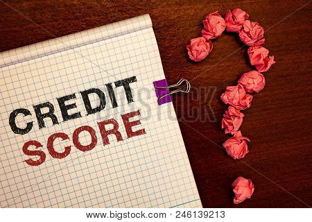 Conceptual hand writing showing Credit Score. Business photo showcasing Capacity to repay a loan Creditworthiness of an individual stock photo