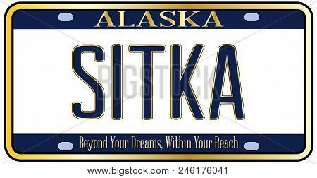 Alaska state license plate in the colors of the state flag with the text Sitka over a white background stock photo