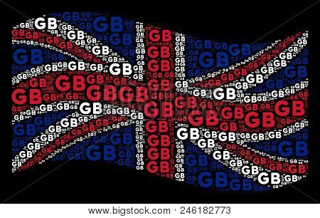Waving UK flag on a black background. Vector GB text elements are united into mosaic British flag illustration. Patriotic composition made of GB texts. stock photo