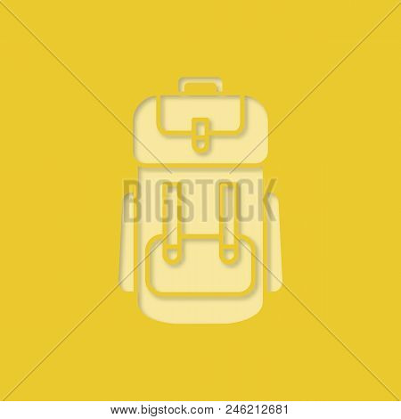 Camping backpack paper cut out icon. Rucksack, knapsack. Vector silhouette isolated illustration stock photo