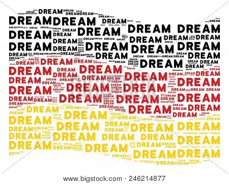 Waving German state flag. Vector dream words are placed into geometric Germany flag illustration. Patriotic illustration created of flat dream word design elements. stock photo