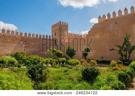 Andalusian gardens in Udayas kasbah.Kasbah of the Udayas is a small fortified complex and a symbol of the Almohad arquitecture, added to the UNESCO World Heritage.Rabat, Morocco. North Africa. stock photo