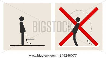 WC Toilet hygiene. Sign and symbol of toilet rules, poster, sticker vector. The man on the toilet. stock photo