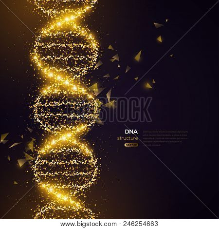 Gold DNA Helix on Black Background with Glittering Particles. Vector illustration. Science and Medical Research Concept Banner with Molecular Structure and Broken Strands stock photo