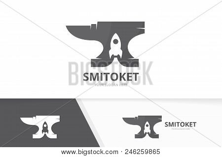 Vector smith and rocket logo combination. Blacksmith and start up symbol or icon. Unique metal and spaceship logotype design template. stock photo