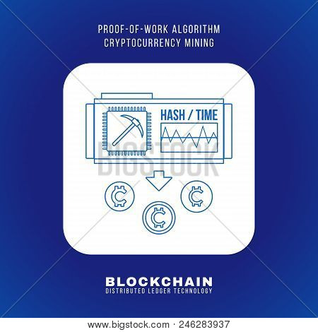outline design blockchain proof of work algorithm cryptocurrency POW mining principle explain scheme illustration white rounded square icon isolated blue background stock photo