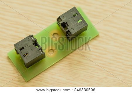 Closeup of homemade ethernet cable connector used receive and send data from communication router. stock photo
