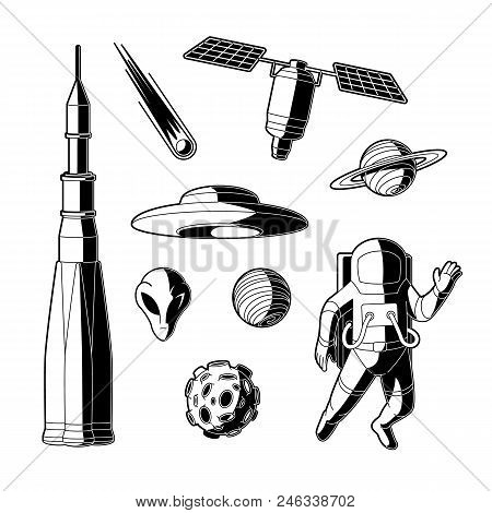 Space, cosmos objects silhouette icon set. Planet with ring, craters, comet, satellite asteroid or meteor spaceman, suit, rocket, spacecraft, alien flying saucer. Astronomy galaxy exploration vector stock photo