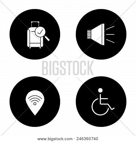 Airport service glyph icons set. Checked baggage, megaphone, wheelchair person, wifi zone. Vector white silhouettes illustrations in black circles stock photo