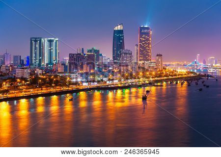 Da Nang city centre skyline aerial panoramic view. Danang is the fourth largest city in Vietnam. stock photo