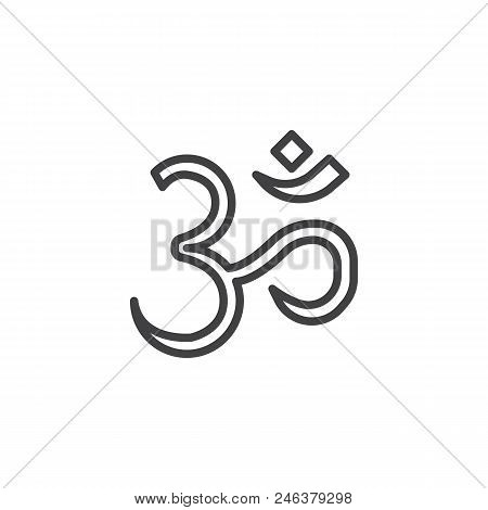 Om Aum outline icon. linear style sign for mobile concept and web design. religion simple line vector icon. Hinduism symbol, logo illustration. Pixel perfect vector graphics stock photo