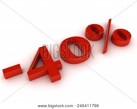 40 Percent Discount on white background. 3d image renderer stock photo