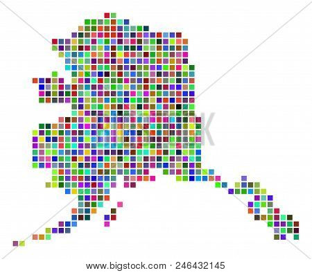 Multi colored dot Alaska map. Vector collage of Alaska map done of dot elements. Vector geographic dotted pixelated map in different colors. stock photo