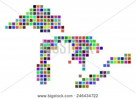 Multi colored dot Great Lakes map. Vector pattern of Great Lakes map designed of dot elements. Vector geographic dotted pixelated map in randomized colors. stock photo