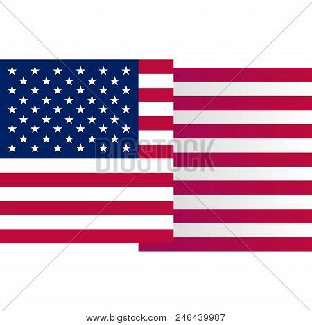 USA big waving flag on white background, vector illustration. American national design element. Undependence day of united states of America, july fourth logo stock photo