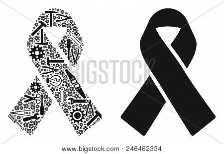 Mourning ribbon collage of workshop tools. Vector mourning ribbon icon is designed of cogwheels, spanners and other service objects. Concept of maintenance work. stock photo