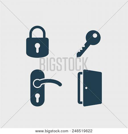 Padlock flat vector icons set. Doors flat vector icons set. Keys flat vector icons set. Lock, key, door handle, door flat vector icon stock photo
