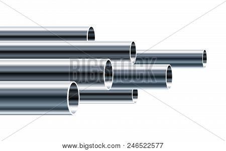 Steel or Aluminum pipes of different diameters isolated on white background. Glossy 3d Steel Tubes design. Industrial Vector illustration. stock photo