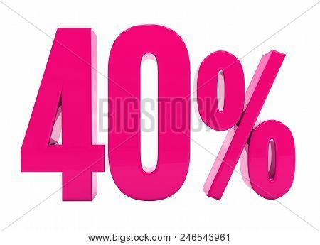 3d Illustration Pink 40 Percent Discount Sign, Sale Up to 40, 40 Sale, Pink Percentages Special Offer, Save On 40 Icon, 40 Off Tag, Pink 40 Percentage Sign, Percentage 3d, Black Friday  Percentage stock photo