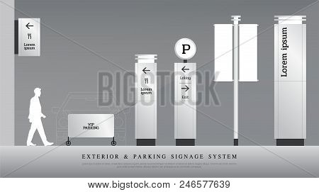 exterior and parking signage. directional, pole, and traffic signage system design template set. empty space for logo, text corporate identity stock photo