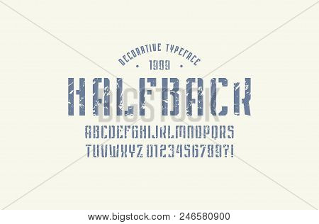 Stencil-plate narrow sans serif font in sport style. Letters and numbers with rough texture for logo and emblem design. Blue print on white background stock photo