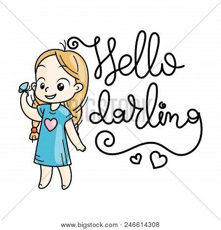 Hello darling. Cute cartoon kids. Vector and illustration. stock photo