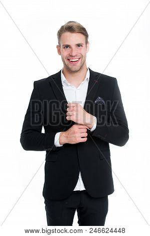 Professional dress code. Man happy well groomed in formal suit, isolated white background. Male fashion concept. Businessman gentleman dressed professional suit. Business dress code mean for men suit. stock photo