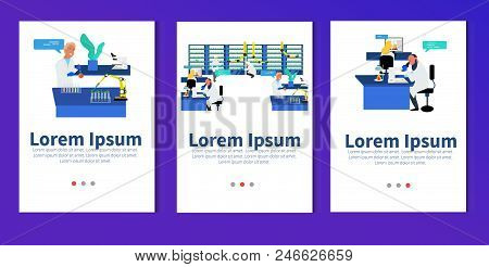 Microbiologist studying new virus and cultivating a petri dish whit inoculation loops, beside a microscope and tools of laboratory. Vector illustration of biomedical engineering. - stock vector stock photo