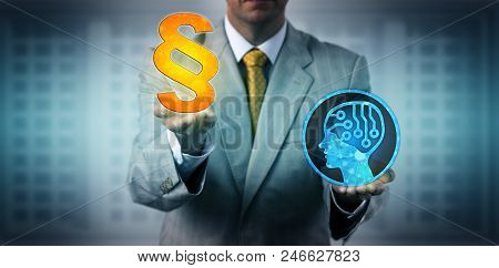 Unrecognizable male negotiator upholding the law when faced with artificial intelligence implementation. Business and technology metaphor for regulatory compliance, AI, robolution, machine learning. stock photo