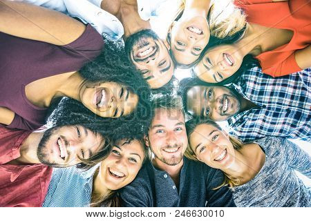 Multiracial Best Friends Millennials Taking Selfie Outdoors With Back Lighting - Happy Youth Friends