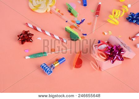 Colorful party frame with birthday objets on yellow background. Celebration concept stock photo