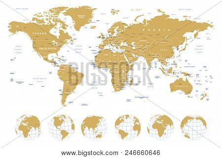 Golden World Map - borders, countries, cities and globes ...