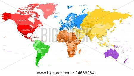 Colored World Map - borders, countries and cities ...