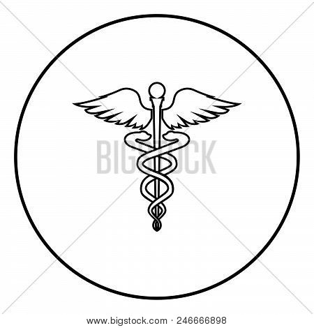 Caduceus health symbol Asclepius's Wand icon black color in circle round outline stock photo