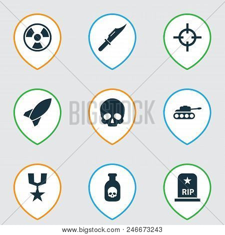 Army icons set with poison, medal, rocket and other missile elements. Isolated  illustration army icons. stock photo