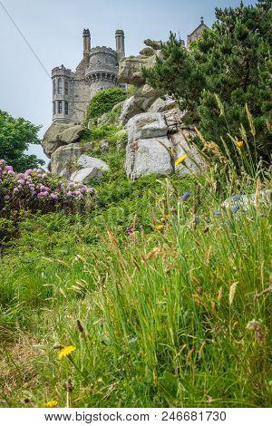 Mount st michael island fortress and gardens, Marazion near Penzance, Cornwall, UK stock photo