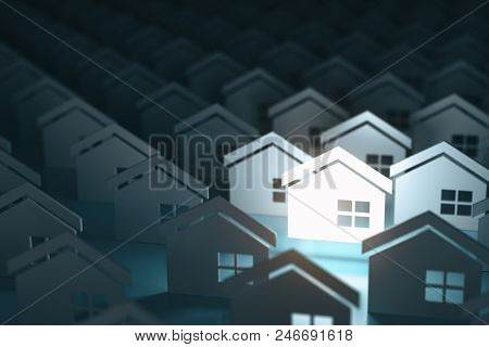 Real estate property industry concept background. Unique lighting house sign in group of  houses. 3d