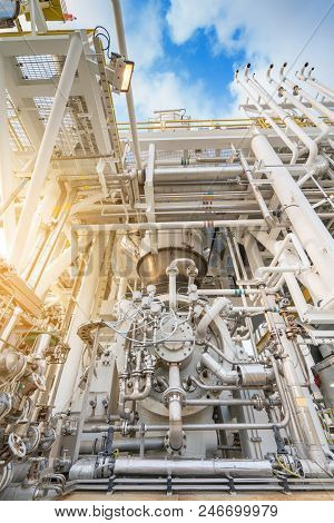 Gas turbine compressor bundle, centrifugal and multi stage type of gas compressor and piping, instrument tubing used in oil and gas industry to compress gas to high pressure. stock photo