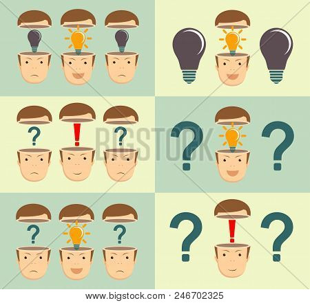thoughtful young businessman . Start up concept. Stock flat vector illustration. Leadership concept with question marks and red exclamation mark in the open heads on background stock photo
