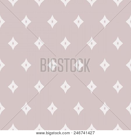 Subtle vector geometric seamless pattern with small rhombuses, diamond shapes. Delicate vintage texture in neutral pastel colors, pale pink and light gray. Abstract repeat background. Design for decor stock photo