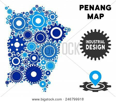 Repair Service Penang Island map collage of cogs. Abstract territory plan in blue color tones. Vector Penang Island map is shaped of cogs. Concept of technical company. stock photo