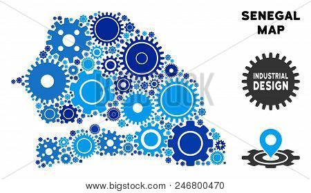 Industrial Senegal map composition of cogs. Abstract territory scheme in blue color hues. Vector Senegal map is done with cogs. Concept of maintenance service. stock photo
