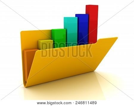 Folder inside the graph. 3d image renderer stock photo