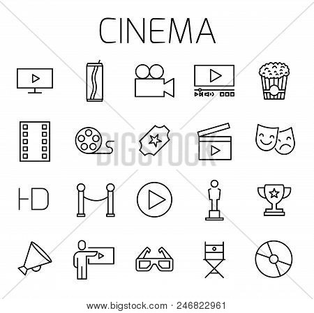 Cinema related vector icon set. Well-crafted sign in thin line style with editable stroke. Vector symbols isolated on a white background. Simple pictograms. stock photo