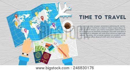 Hands Of Men Mark The Way For Travel On World Map. Passport For Customs Clearance, Airplane Tickets,